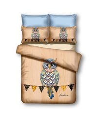 Voodipesukomplekt 3-osaline Owls Collection AutumnStory, 200x220 cm
