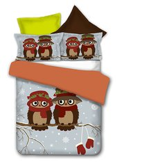 Voodipesukomplekt 3-osaline Owls Collection Winterstory, 200x220 cm