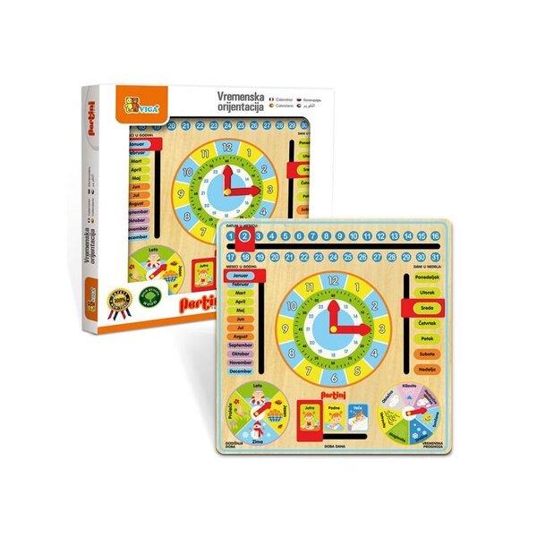 Развивающая игра часы и календарь, Viga, EN