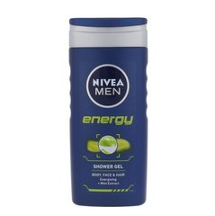 Dušigeel-šampoon piparmündiga Nivea Men Energy meestele 250 ml