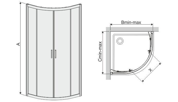 Sektorikujuline dušikabiin Sanplast TX KN/TX4b 80s, läikiv hõbedane profiil, kaunistatud klaas grey hind