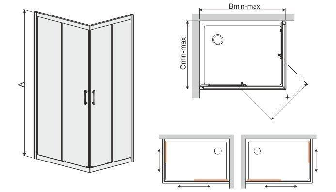 Угловая душевая кабина Sanplast TX KN/TX5b 90x120s, профиль manhatan, стекло Gray