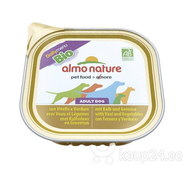 Konserv koertele ALMO NATURE BIO vasikaliha ja köögiviljadega, 100g