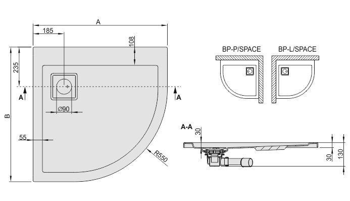 Dušialus Sanplast Space Line BP-P/Space 80x90x3, värv manhattan
