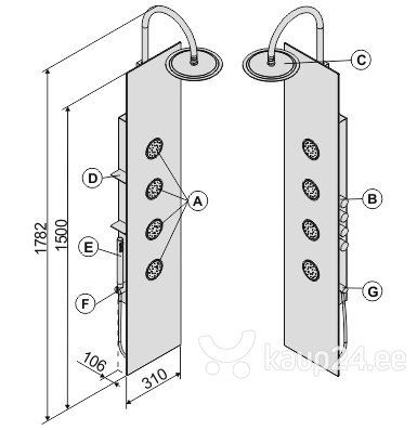 Dušipaneel Sanplast PPo/Space-150, kreem hind