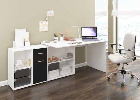 Kirjutuslaud Beat L, valge/must hind ja info | Arvutilauad, kirjutuslauad | kaup24.ee
