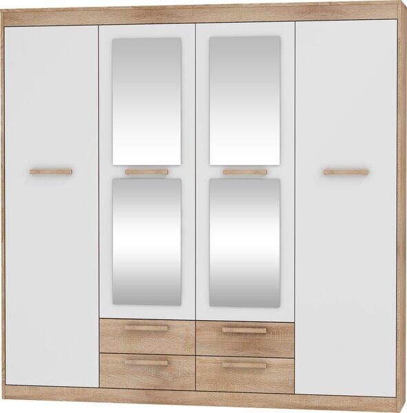 Riidekapp Maximus 4D4s, tamm/valge hind ja info | Kapid | kaup24.ee