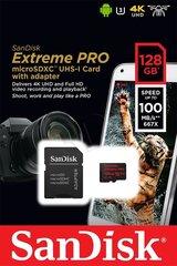Mälukaart SANDISK EXTREME PRO microSDXC 128GB 100/90 MB/s A1 C10 V30 UHS-I U3 hind ja info | Lisatarvikud fotoaparaatidele | kaup24.ee