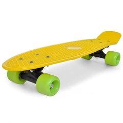 Retro rula kollase pealse ja roheliste ratastega