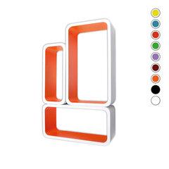 Riiulite komplekt CUBE LO88, valge/oranž