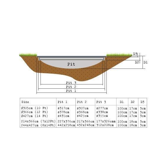 Maapinnapealne batuut EXIT InTerra 214x366 cm, hall