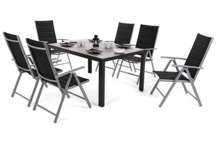Aiamööbli komplekt Capri 145 cm Black / Light Grey Ibiza Silver / Black 6+1