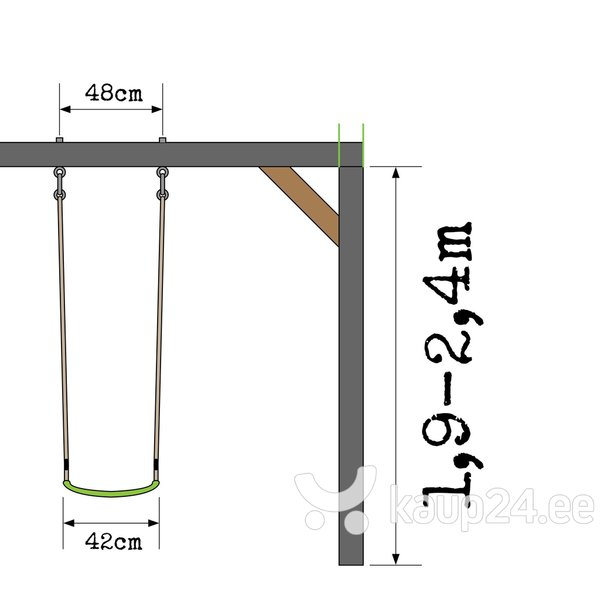Деревянный домик с горкой, качелями и песочницей, EXIT (FSC Mix 70%)