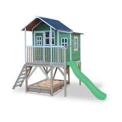 Puidust mängumaja EXIT Loft 550 liumäe, terrassi ja liivakastiga FSC 100%, roheline