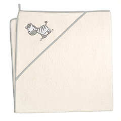 Kapuutsiga rätik CebaBaby 100x100 cm, zebra-kreemjas