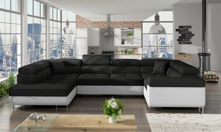 Универсальный угловой диван Letto, черный / белый