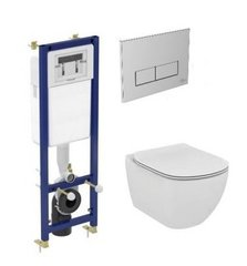 WC komplekt Ideal Standard: raam nupuga ja WC pott Tesi AquaBlade, Soft Close kaanega