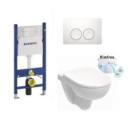WC komplekt Geberit raam klahvi ja WC-potiga Kolo Nova Pro Rimfree, Soft Close kaas