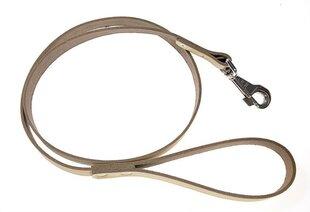 Nahast koerte jalutusrihm Amibelle, helepruun, laius 1,4 cm, pikkus 120 cm
