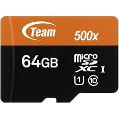 Mobiiltelefoni mälukaart Flash Micro-SD 64GB Team UHS-I 1Adp