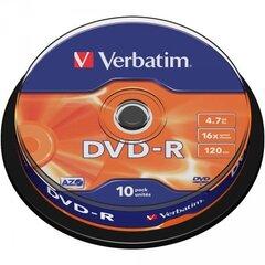 DVD plaadid Verbatim DVD-R 16 x 4,7 GB (10 tk) hind ja info | Sülearvuti jahutusalused jm | kaup24.ee