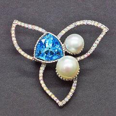 Swarovski kristallidega kaunistatud pross DiamondSky Lotus Aquamarine Blue