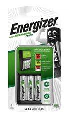 Зарядное устройство Energizer MAXI AA/AAA и 4 AA 2000Mah батарейки цена и информация | Зарядное устройство Energizer MAXI AA/AAA и 4 AA 2000Mah батарейки | kaup24.ee
