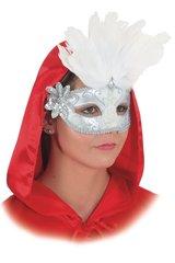 Veneetsia mask, valgete sulgedega