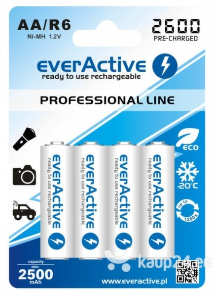 everActive Professional Ready to Use 2600mAh AA patareid, 4 tk