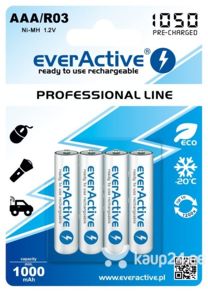 everActive Professional Ready to Use 1050mAh AAA patarei, 4 tk