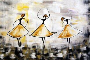 Maalitud pilt Kolm Kollast Tantsijat, paksu alusraamiga
