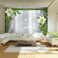Fototapeet - Bamboo and two orchids