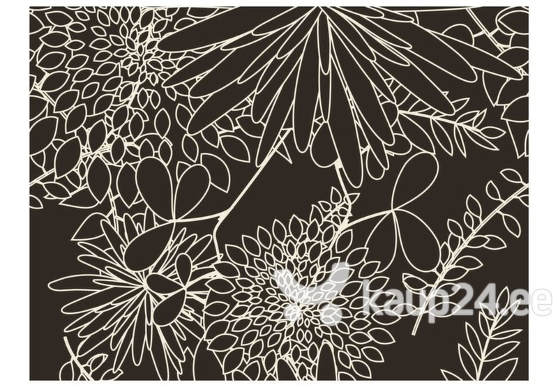 Fototapeet - Black and white floral background