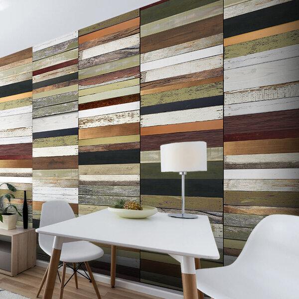 Fototapeet - Rainbow-colored wood tones