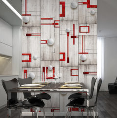 Fototapeet - Concrete, red frames and white knobs