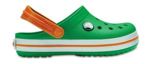 Laste jalanõud Crocs Kids' Crocband Clog, Grass Green/White/Blazing Orange