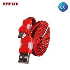 Etui Плоский 1.2cm Микро USB Кабель из веревки с Led подсветкой Красный