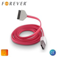 Forever Flat Silicone USB - iPhone 4, 4S, roosa