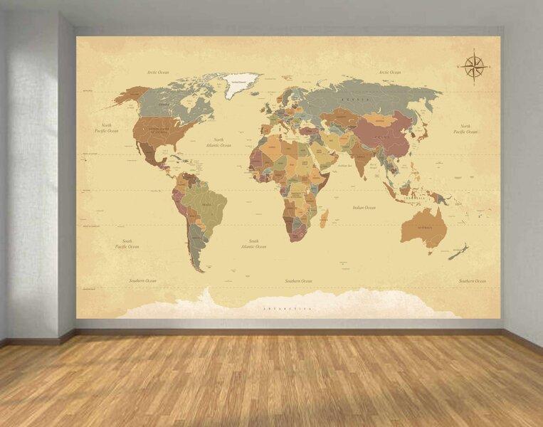 Фотообои - Старая карта мира