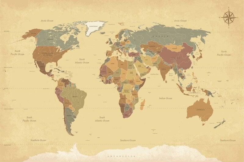 Фотообои - Старая карта мира цена