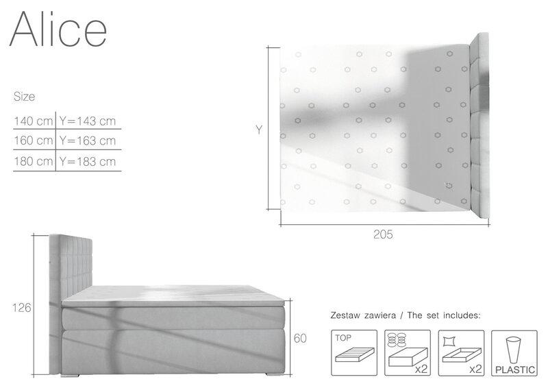 Voodi Alicie, 140x200 cm, valge tagasiside
