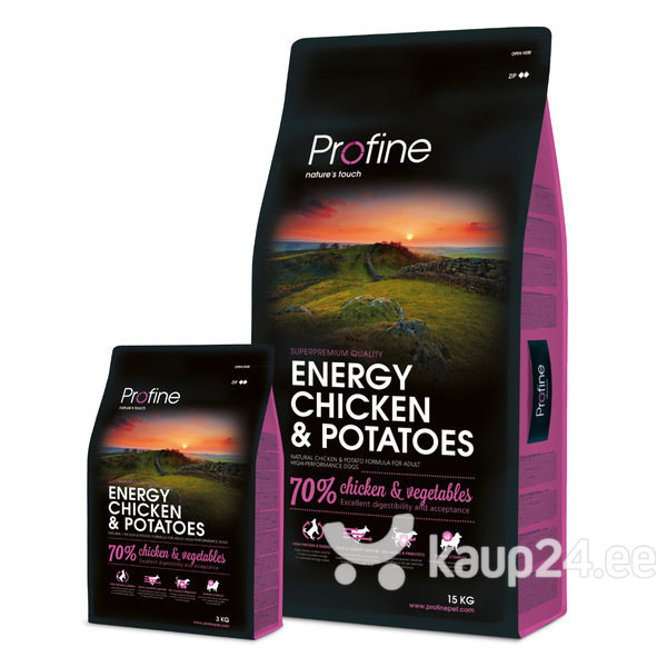 Kuivtoit aktiivsetele koertele Profine Dog Energy Chicken & Potatoes, 15 kg