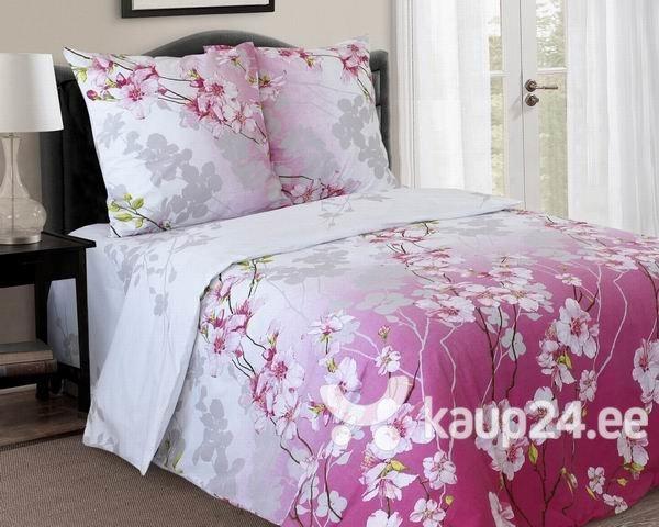 Voodipesukomplekt, roosad lilled roosal/valgel taustal, Double 4 osaline (240x220cm)