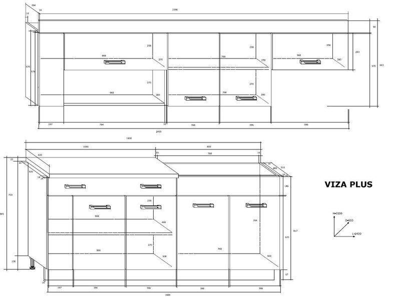 Köögikappide komplekt Viza Plus, pruun/valge hind