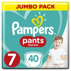 Подгузники PAMPERS Pants. JP, 7 размер (17+ кг), 40 шт. цена и информация | Для ухода за младенцем | kaup24.ee