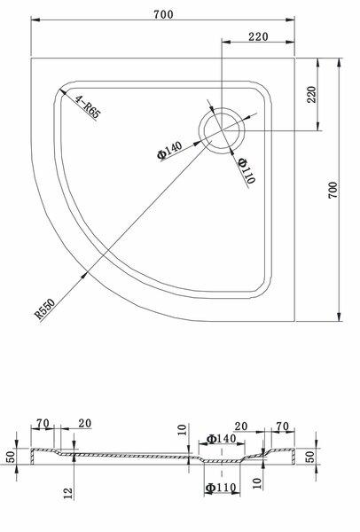 Poolringikujuline dušialus Mexen Slim sifooniga, 70x70,80x80,90x90 cm hind