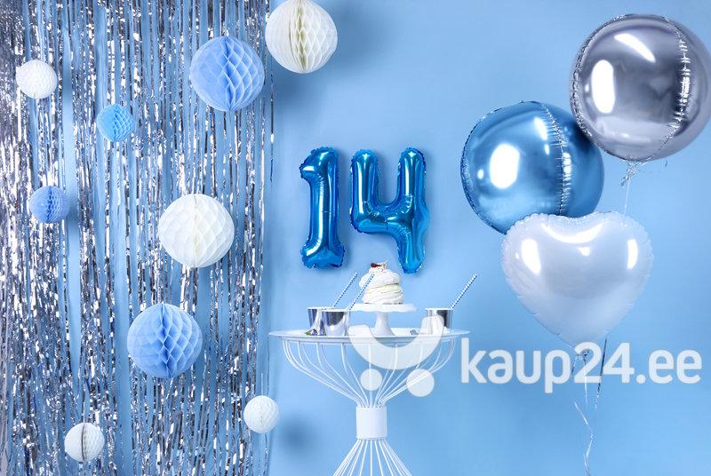 """Fooliumist õhupall Number """"4"""", 35 cm, sinine, 50 tk. hind"""