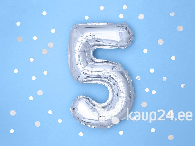 """Fooliumist õhupall Number """"5"""", 35 cm, hõbedane hind"""