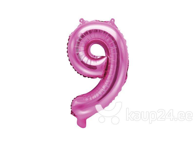 """Fooliumist õhupall Number """"9"""", 35 cm, roosa, 50 tk."""