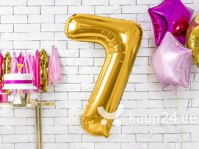 """Fooliumist õhupall Number """"7"""", 86 cm, kuldne hind"""